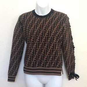 Fendi Logo Lace Up Sleeve Crewneck Sweater